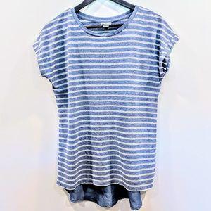 Stylus medium blue and white striped top